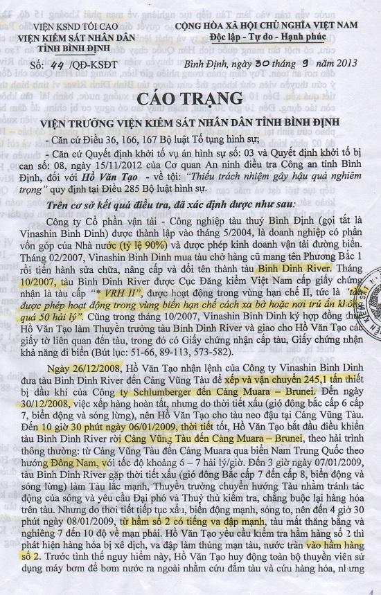 Án lệ tàu Bình Định River : Cáo trạng với thuyền trưởng Hồ Văn Tạo