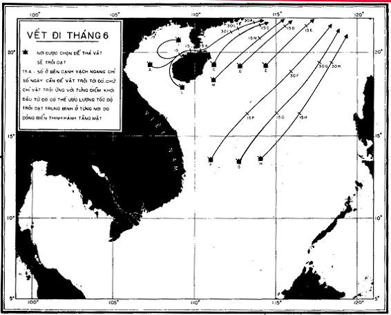Vệt di chuyển tầng mặt tháng 6 tháng 7 di chuyển từ giữa vịnh Bắc Bộ đến đảo Hải Nam